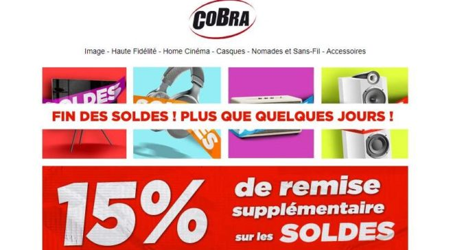 fin des soldes cobra tv hi fi home cin ma 15 suppl mentaire. Black Bedroom Furniture Sets. Home Design Ideas