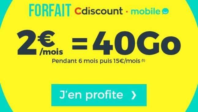 Forfait 40Go Cdiscount Mobile à 2€