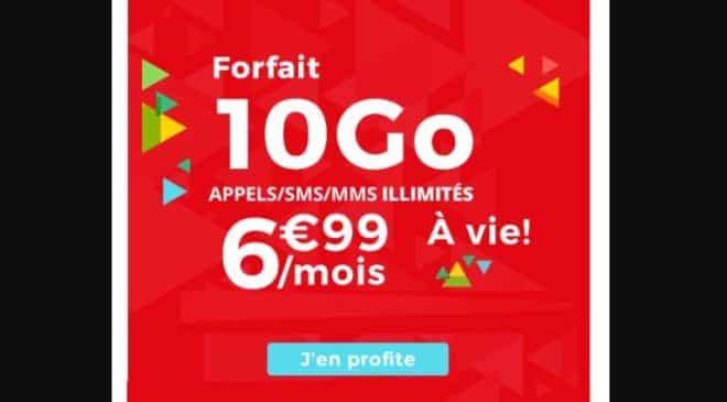 Forfait Auchan Telecom 10GO à 6,99€/mois à VIE