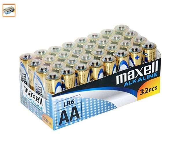 Lot de 32 piles alcaline Maxell AA LR6 pas cher