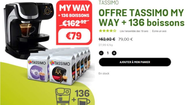 Machine MY WAY Tassimo Bosch 136 capsules à seulement 79€