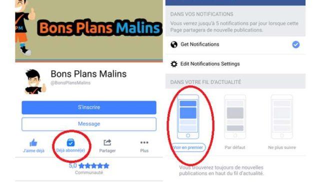 Recevoir les Bons Plans de Bons Plans Malins sur Facebook MOBILE