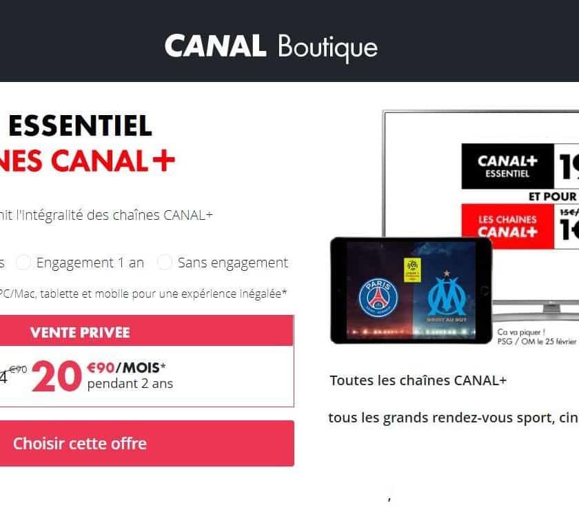 Vente Privée Canal Plus 20,9€ mois Canal+ Essentiel + les chaînes Canal+