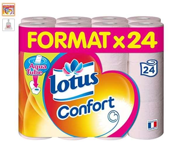 pas cher 7 3 lot de 24 rouleaux de papier toilette lotus confort. Black Bedroom Furniture Sets. Home Design Ideas