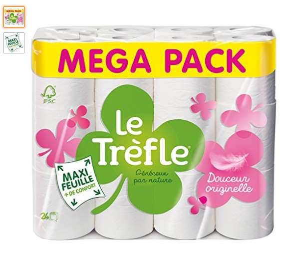 pack 24 rouleaux de papier toilette Le Trefle Maxi Feuilles pas cher