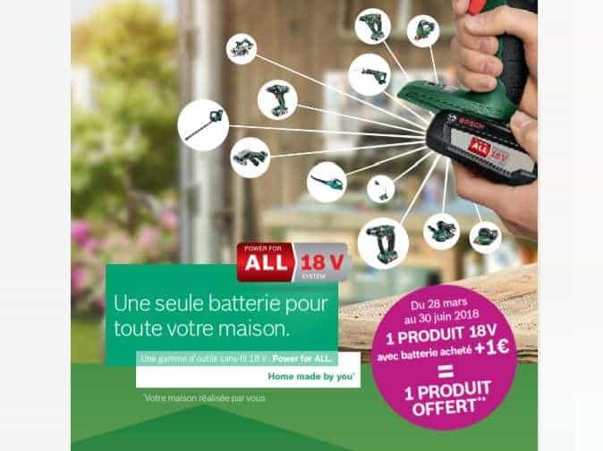 1 article Bosch 18V avec batterie acheté = 1 produit à 1€
