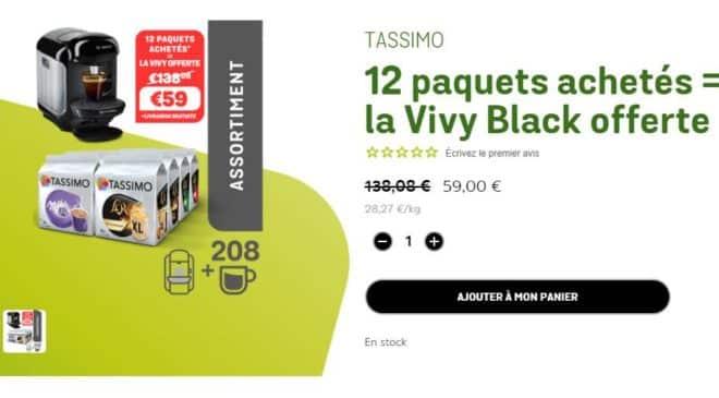 12 paquets achetés = la machine Tassimo Vivy gratuite