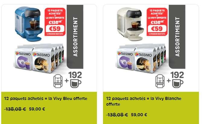 12 paquets achetés machine Tassimo Vivy gratuite