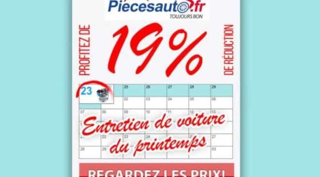 19% de remise sur tout le site PiecesAuto