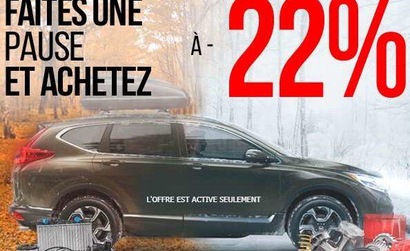 22% de remise sur Pieces Auto