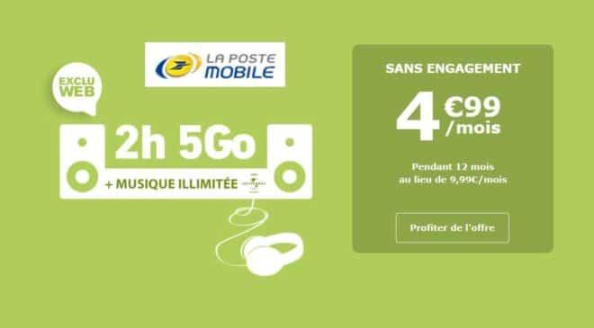 4,99€ forfait 5Go La Poste Mobile musique illimitée