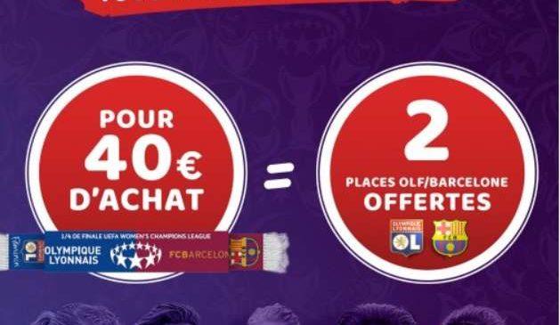 Boutique Olympique Lyonnais 2 places gratuites OL féminin vs FC Barcelone