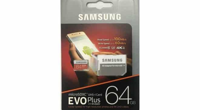 Carte microSDXC Evo Plus 64Go Samsung U3 100Mos – 60Mos