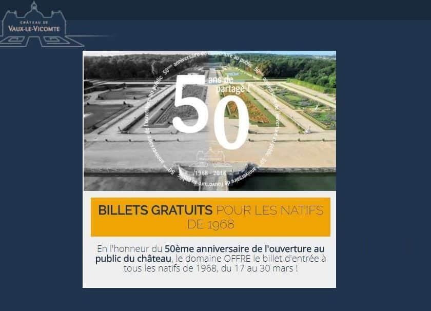 Entrée gratuite pour le château Vaux-le-Vicomte