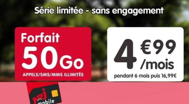 Forfait 50Go NRJ Mobile à 4,99€ mois
