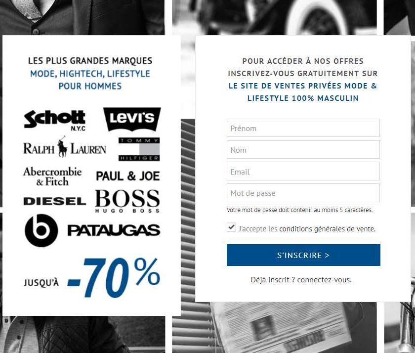 Homme privé le site de vente privée dédiée à l'homme