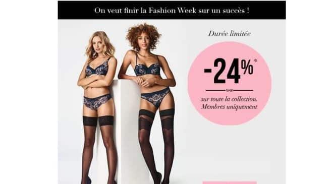 Lingerie Hunkemöller tout à moins 24% pour la Fashion Week