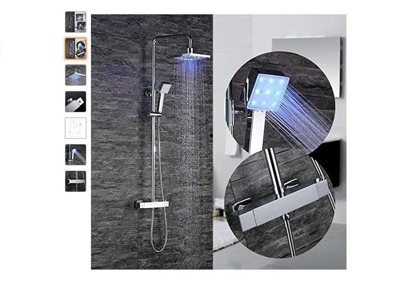 Moins de 95€ la colonne de douche mitigeur thermostatique Homelody LED
