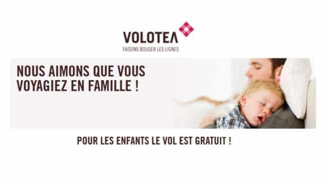 Offre famille Volotea billet enfant gratuit