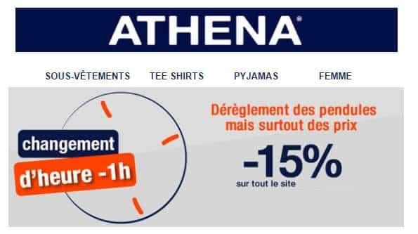 remise sur tout le site Athéna pour le changement d'heure