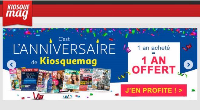 1 an acheté = 1 an d'abonnement gratuit KiosqueMag