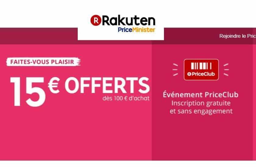 15€ de remise sur Rakuten pour 100€ d'achats
