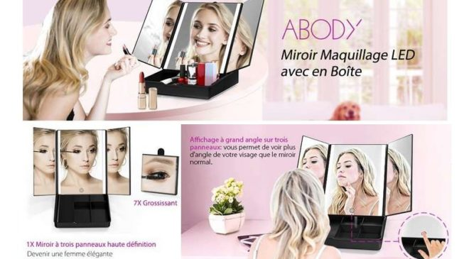 17,99€ la boite miroir de maquillage lumineux (loupe x7) Abody