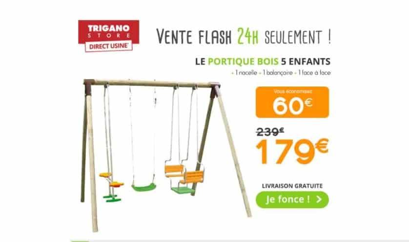 179€ le portique en bois Trigano 5 enfants ivraison gratuite