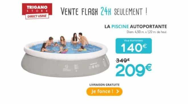 209€ piscine autoportante Trigano 4,50m x 1,22 m avec échelle, bâche et filtre