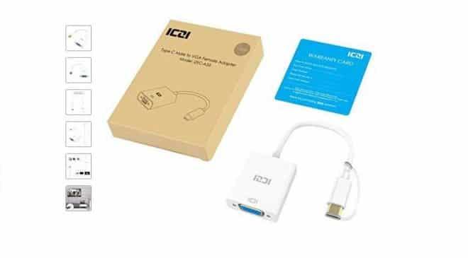 5,59€ adaptateur convertisseur USB C vers VGA ICZI
