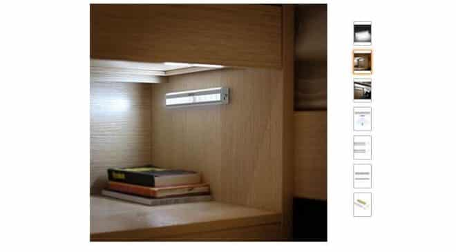 7,79€ lampe pour armoire avec détecteur de mouvement rechargeable Aglaia 10 LED