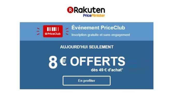 8€ de remise sur Rakuten à partir de 49€