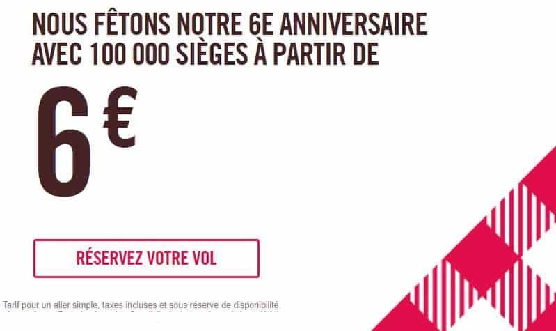 Anniversaire Volotea 6 ans 100000 billets d'avion à 6€