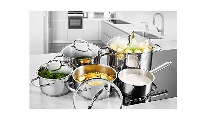 bonne affaire 49 99 batterie de cuisine inox deik 4 faitouts et 1 casseroles avec 4. Black Bedroom Furniture Sets. Home Design Ideas