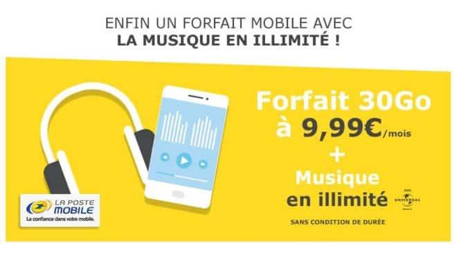 Forfait La Poste Mobile 30go à 9,99€