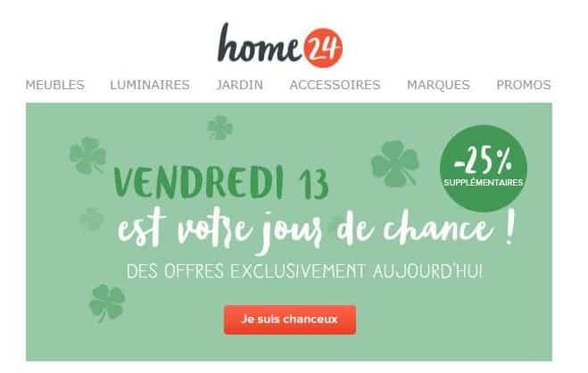 Offre vendredi 13 Home24 25% supplémentaire sur les articles déstockage