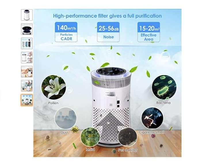 49 87 purificateur d air intey avec filtre hepa odeur fum e de cigarette poussi res pollens. Black Bedroom Furniture Sets. Home Design Ideas