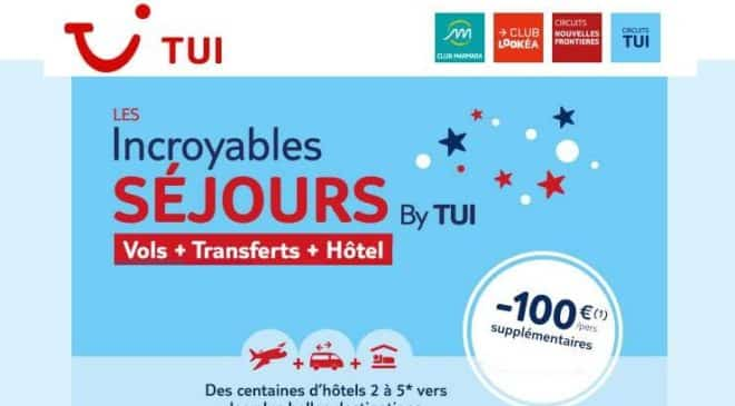Remise de 100€ par personne sur les séjours TUI