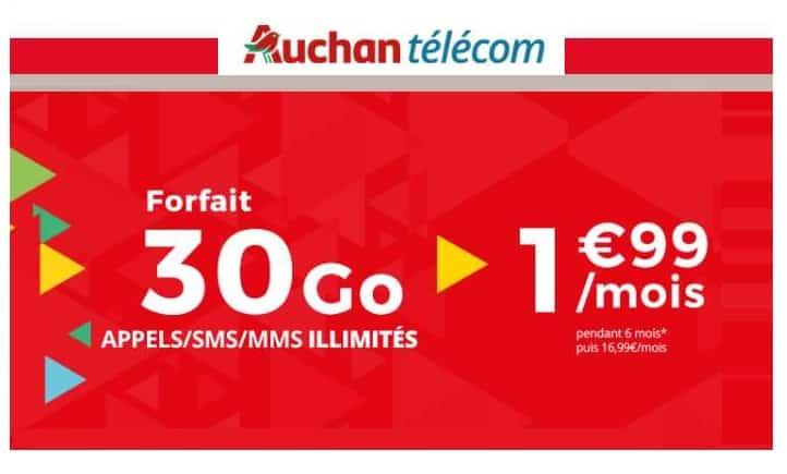 vente flash forfait 30go auchan telecom 1 99 appels sms mms illimit s. Black Bedroom Furniture Sets. Home Design Ideas