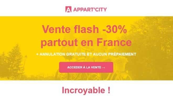 Vente flash Appart'City 30% de remise sur tous les séjours + annulation gratuite