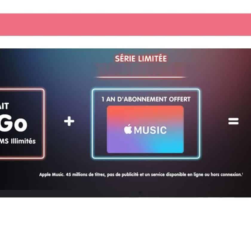 forfait NRJ Mobile 100Go + Apple Music gratuit pendant 1 an