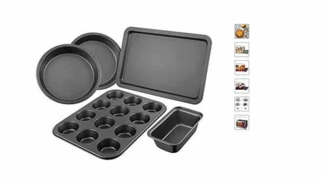 kit pâtisserie de 5 moules en acier revêtement antiadhésif DEIK