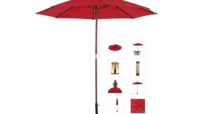 moins de 30 parasol pied bois avec toile r sistante l 39 eau et syst me anti vent ikayaa port inclus. Black Bedroom Furniture Sets. Home Design Ideas
