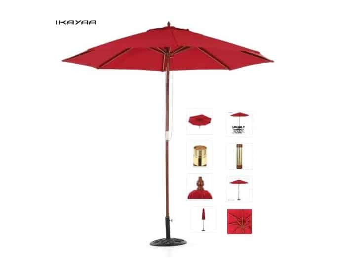 Moins de 30 parasol pied bois avec toile r sistante l for Anti cerne fait maison