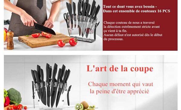 set de couteaux deik 13 couteaux + aiguisoir + ciseaux + éplucheur + support