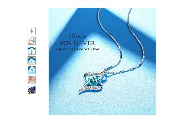 8,87€ le pendentif argent et Zirconium bleu avec chaine J. Rosée