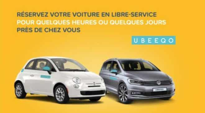 Bon d'achat Rosedeal Ubeeqo voiture libre-service