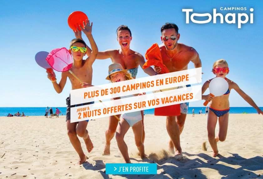 Jusqu'à 2 nuits offertes dans en camping Tohapi cet été