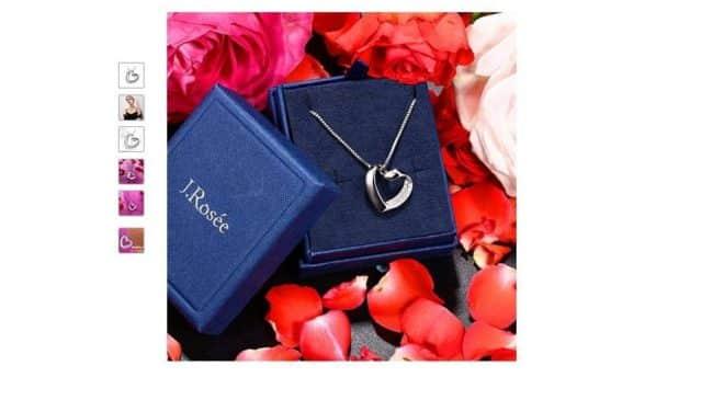 Moins de 10€ le pendentif coeur avec collier en argent J. Rosée