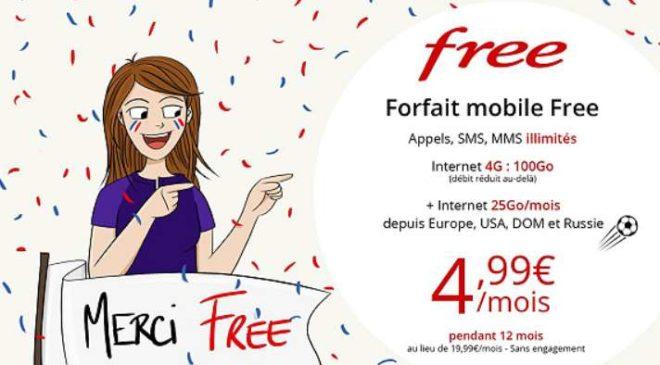Nouvelle vente privée Free mobile forfait 100Go